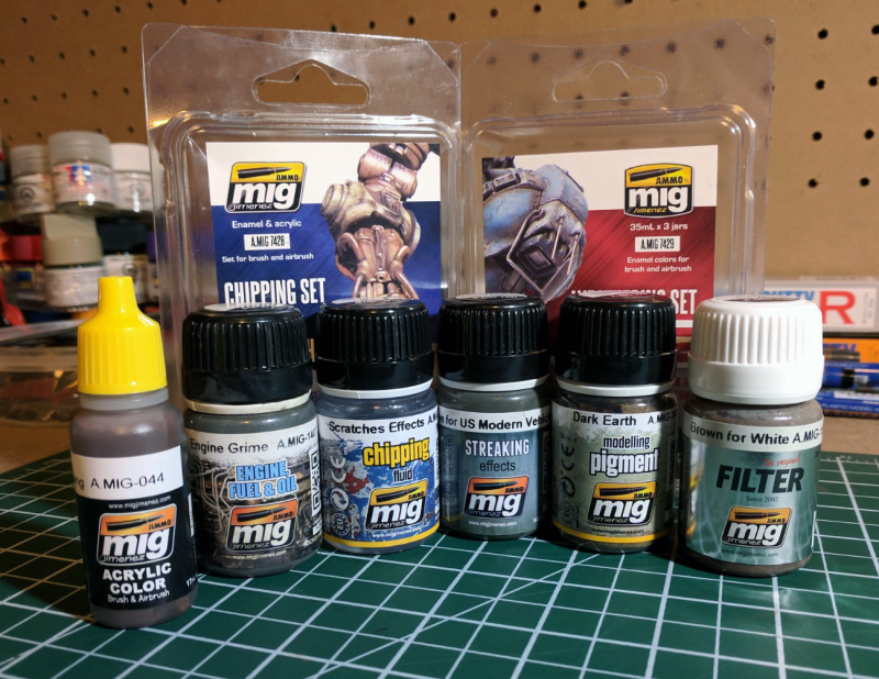Ammo By Mig Weathering Set for Mechas and Chipping Set For Mechas